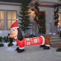 """Gemmy 39519 Christmas Airblown Dachshund In Sweater Inflatable, Fabric, 24-1/4"""" x 16-5/16"""" x 9-1"""""""