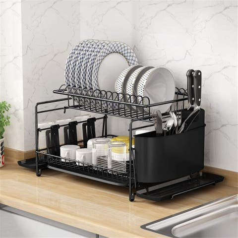 2 Tier Dish Drying Rack with Removable Drainboard