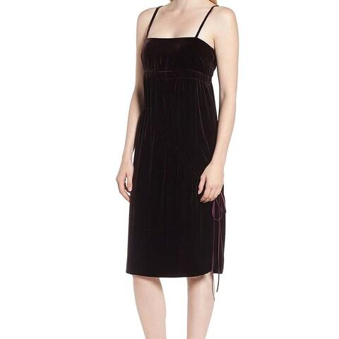 Lewit Velvet Square Neck Women's Ruched Slip Dress