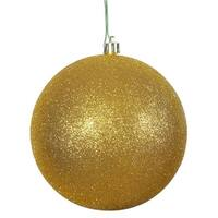 6 in. Antique Gold Glitter Ball Christmas Ornament - 4 Per Bag