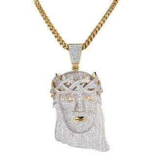 Full Iced Out Hip Hop Jesus Pendant Stainless Steel Franco Chain 14k Gold Tone