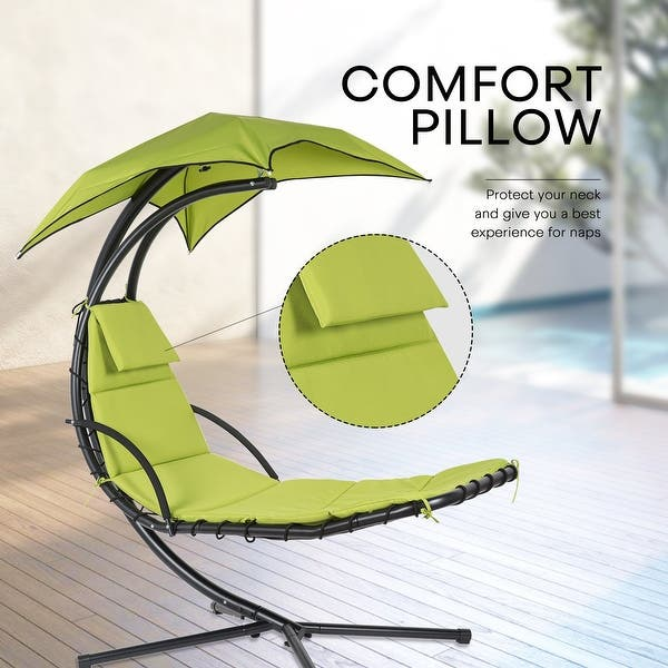 Shop Hanging Chaise Lounge Chair Canopy Floating Chaise Lounger Swing Hammock Chair For Patio Garden Deck And Poolside Overstock 31575597