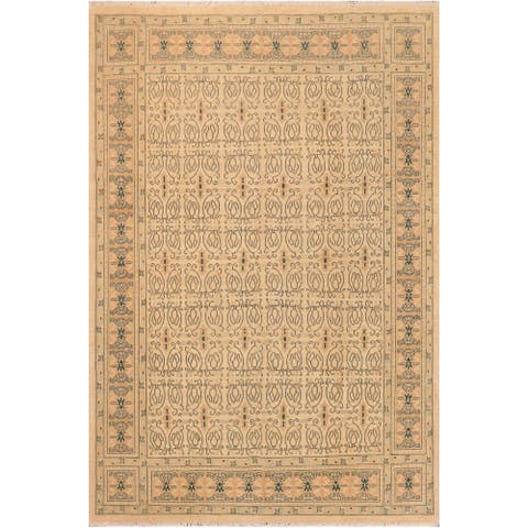 Kafkaz Debera Beige/Brown Hand-Knotted Rug- 8 ft. 2 in. x 9 ft. 11 in. - 8 ft. 2 in. x 9 ft. 11 in.