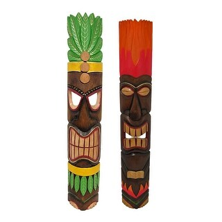 Hand Crafted 40 inch Wood Tiki Totem Wall Mask Set of 2