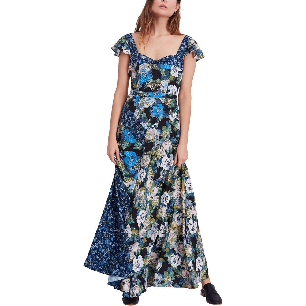 Free People Womens La Fluer Maxi Dress blue 2
