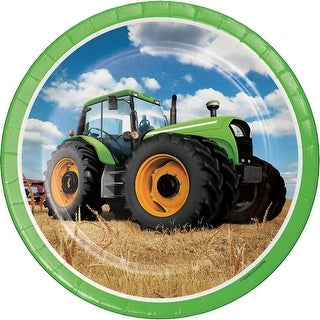 """Club Pack of 96 Green Farmers Tractor Truck Dinner Party Plates 9"""" - Blue"""