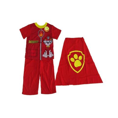 Nickelodeon Little Boys Red Marshall Detachable Cape 3 Pc Pajama Set