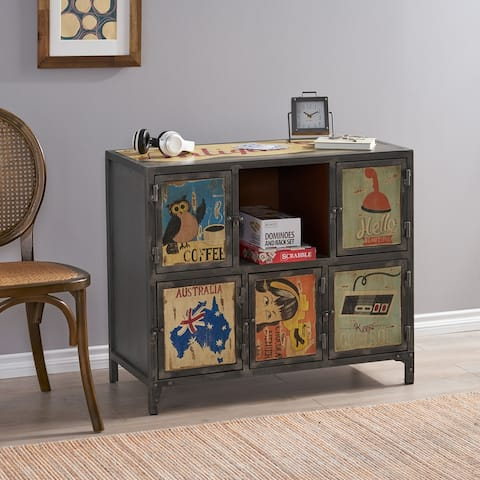 Schley Indoor Multi Handcrafted 6 Cubby Cabinet by Christopher Knight Home