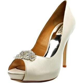 Badgley Mischka Goodie Peep-Toe Canvas Heels