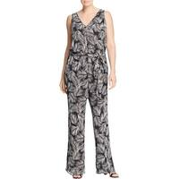 MICHAEL Michael Kors Womens Plus Mangonia Jumpsuit Metallic Printed