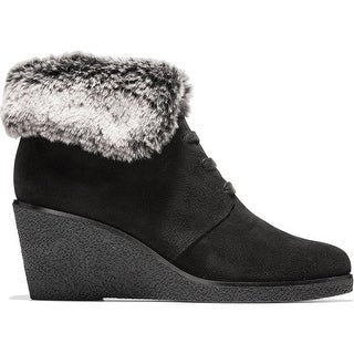 Cole Haan Womens Coralie Booties Suede Faux Fur - Black - 8.5 Medium (B,M)