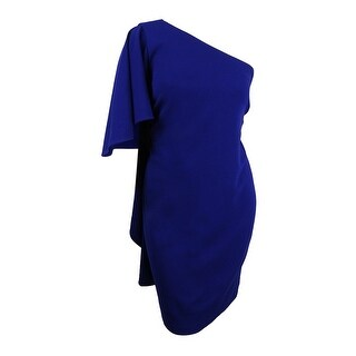 Calvin Klein Women's Plus Size Draped One-Shoulder Dress - ultrmarine