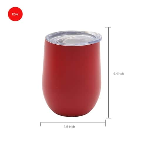 12 OZ Stainless Steel Vacuum Insulated Double Wall Wine Tumbler with Lid Hot for 6 Hours Cold for 12 Hours Red