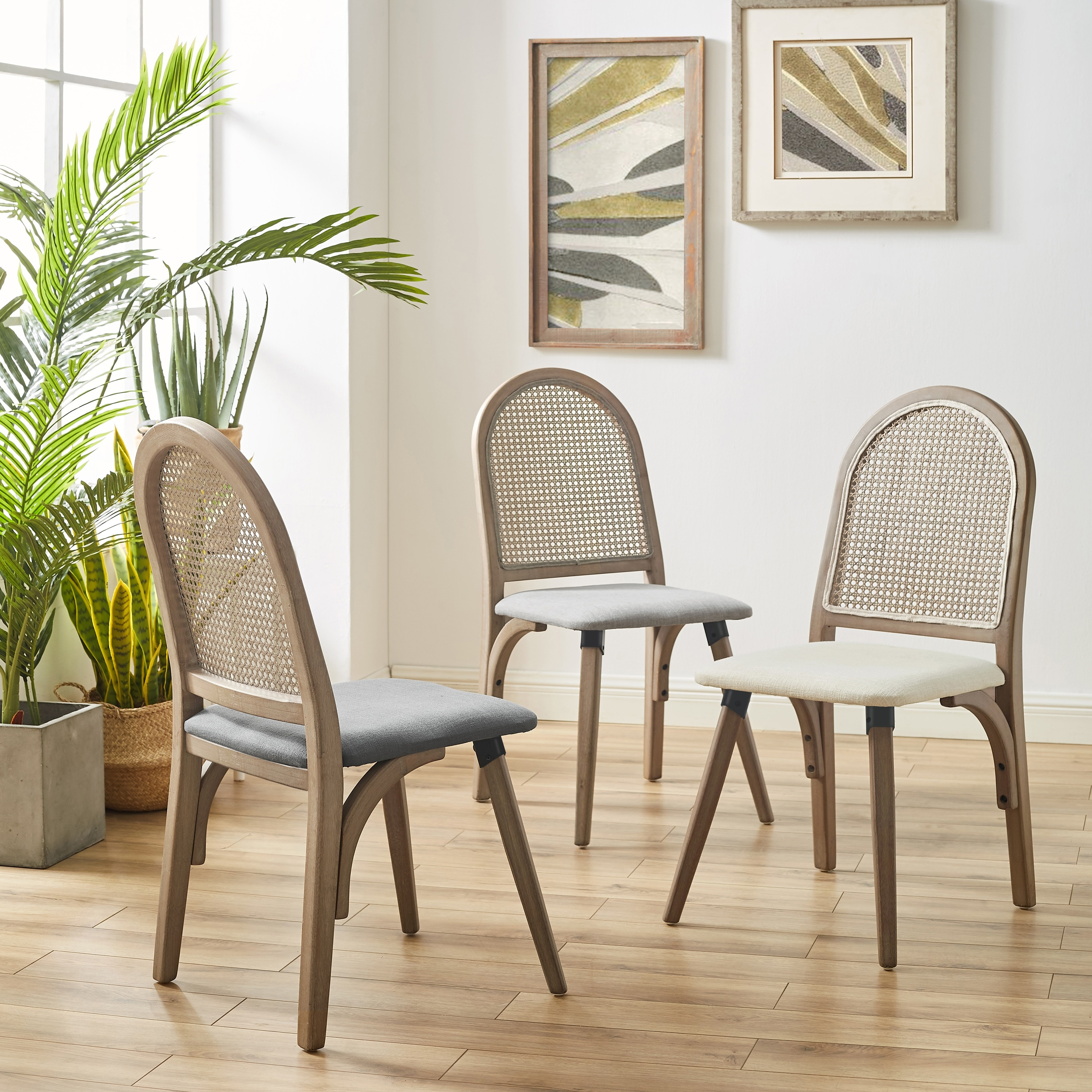 Art Leon Rattan Linen Fabric Cane Dining Side Chair With Bamboo Frame Overstock 30668069