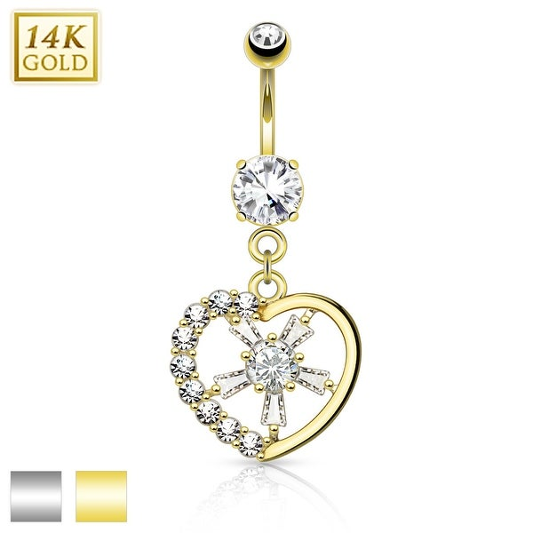 14Kt Gold Gemmed Heart with CZ Spoke Center Belly Button Navel Ring - 14GA (Sold Ind.)