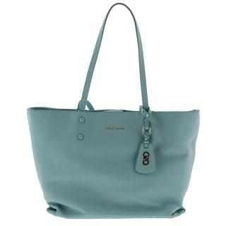 Cole Haan Womens Hannah Tote Handbag Leather Green Large - Aqua