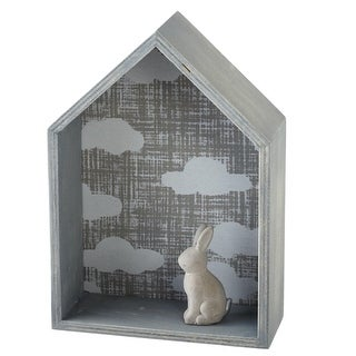 Set of 2 Distressed Gray House with Cloud Pattern Wall Shelves 9.6""
