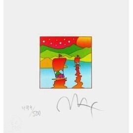 """Two Sailboats with Stars, Ltd Ed (Mini 4.875"""" x 4.5""""), Peter Max"""