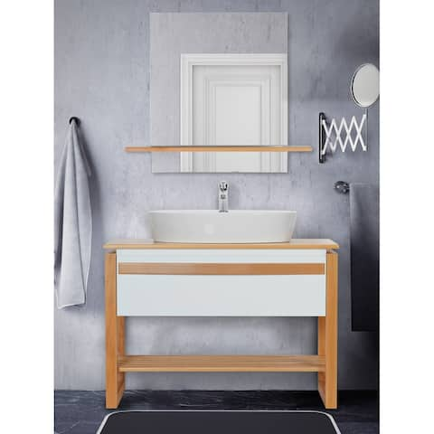 Giallo Rosso Bali 40 Inch Modern Freestanding Bathroom Vanity with Vessel Sink and Mirror (White Oak)