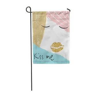 Blue Black Kiss Me Creative Girl Portrait With Golden Lips Face Graphic White Be Garden Flag Decorative Flag House