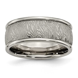 Chisel Titanium Polished 9.10mm Textured Rounded Edge Ring