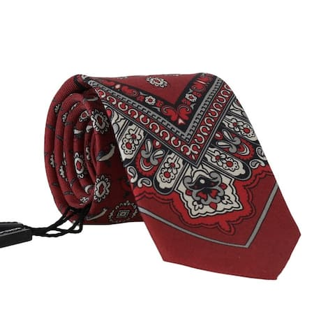 Dolce & Gabbana Bordeaux Silk Gray Bird Print Men's Tie - One Size