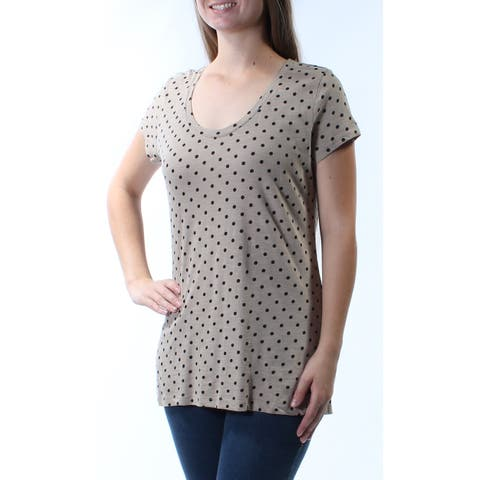 STYLE & CO Womens Beige Polka Dot Short Sleeve Scoop Neck T-Shirt Top Size: M