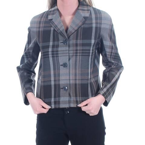 TOMMY HILFIGER Womens Gray Plaid Blazer Wear to Work Jacket Size 2