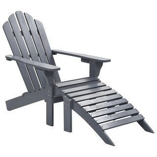 Link to vidaXL Garden Chair with Ottoman Wood Gray Similar Items in Outdoor Sofas, Chairs & Sectionals