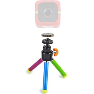 """Polaroid 8"""" Color Heavy Duty Mini Tripod With Pan Head With Tilt + Polaroid Magnet to Tripod Adapter Mount for Cube and Cube+"""