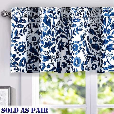 DriftAway Julia Geo/Leaf Window Curtain Valance Pair