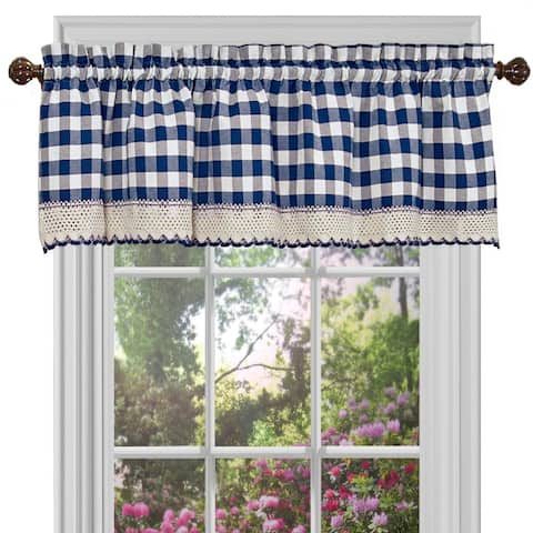 Buffalo Check Gingham Kitchen Curtain Valance, 58x14 Inches