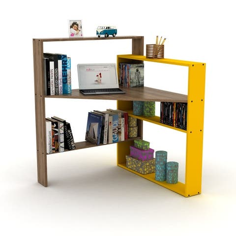 Corner Desk Home Office Writing Desk with Bookshelves
