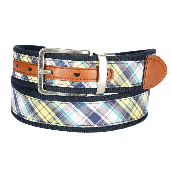 Nautica Men's Fabric Reversible Madras Belt
