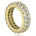 4.40 cttw. 14K Yellow Gold Round Diamond Two Row Eternity Ring - Thumbnail 2