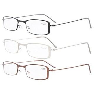 Eyekepper 3-Pack Stainless Steel Frame Half-eye Style Reading Glasses+3.5