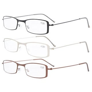 Eyekepper 3-Pack Stainless Steel Frame Half-eye Style Reading Glasses+4.0