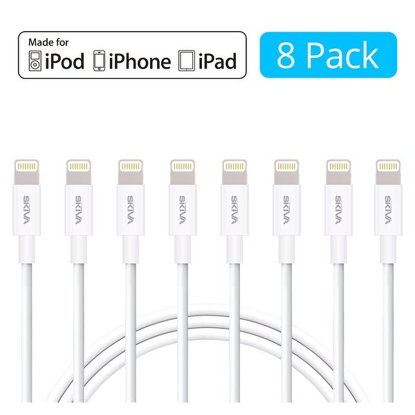 [8-Pack] Skiva USBLink (3.2 ft / 1m) Apple MFi Certified 8-pin Lightning Sync and Charge Cable for iPhone X 8 8+ 7 7+ 6s plus SE