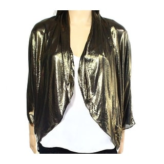 MSK NEW Gold Womens Size Large L Open-Front Metallic Ruched Shrug