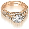 1.72 cttw. 14K Rose Gold Antique Halo Round Cut Diamond Bridal Set - Thumbnail 0
