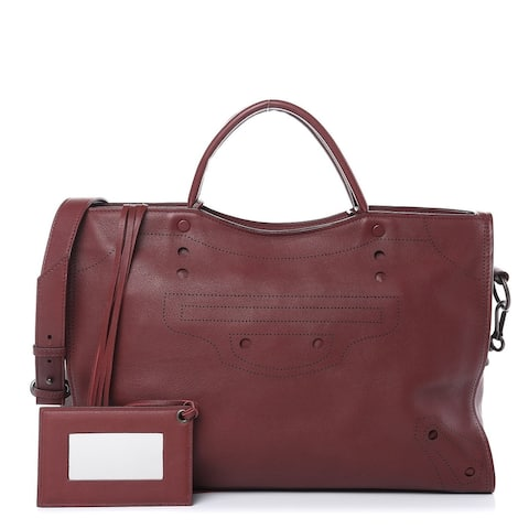 Balenciaga Blackout City Rouge Perforated Leather Bag
