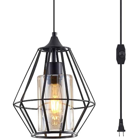 Black swag pendant lights with plug in cord glass