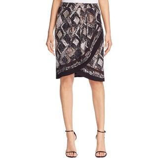 Nic+Zoe Womens Wrap Skirt Scaled Printed
