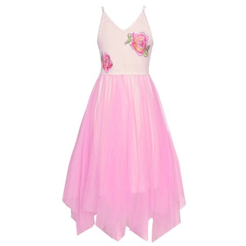 Girls Pink Flower Detail V-Neck Overlaid Angled Hem Casual Dress