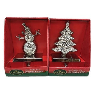"""Pack of 6 Sliver Finished Christmas Decorative Tree and Snowman Stocking Hangers 8"""""""
