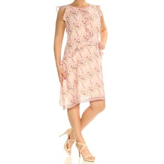 3ebd19cd22033f MAX STUDIO Womens Pink Floral Cap Sleeve Jewel Neck Above The Knee Shift Dress  Size