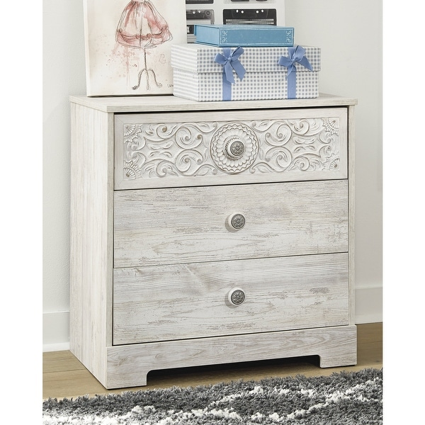 Paxberry Whitewash Three Drawer Chest. Opens flyout.
