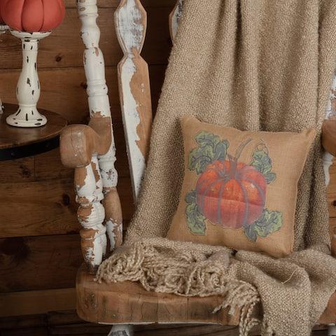 Jute Burlap Natural Harvest Garden Pumpkin Pillow 12x12