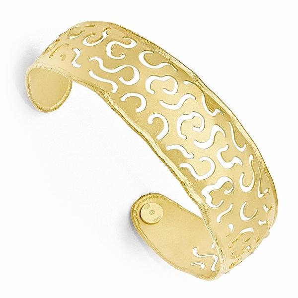 Italian Sterling Silver Gold Flash-plated Satin-Finish Cuff Bracelet