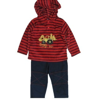 Carter's Baby Boys Red Navy Stripe Truck Applique 2 Pc Pant Set